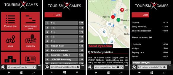 Webová aplikace Tourism X Games Vysošina 2015